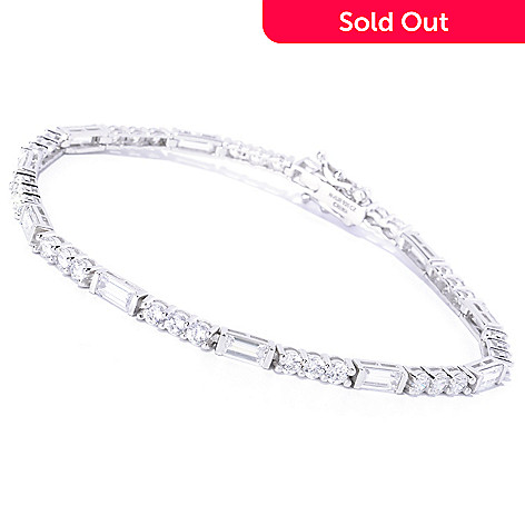 127-781 - Brilliante&reg Platinum Embraced™ Round & Baguette Cut Line Bracelet