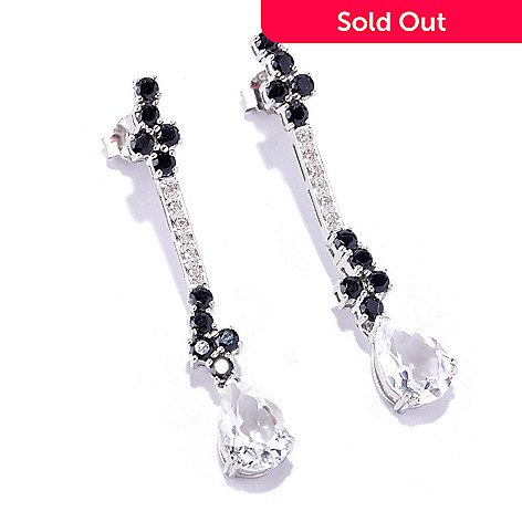 127-793 - NYC II® 5.36ctw Rock Crystal, Black Spinel & Diamond Drop Earrings