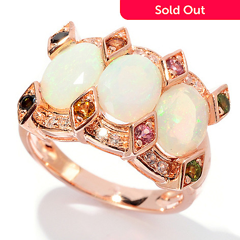 127-795 - NYC II 2.87ctw Opal, Multi Colored Tourmaline & White Zircon Ring