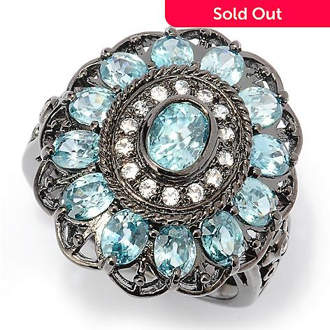 127-796 - NYC II™ 3.93ctw Blue Zircon & White Sapphire Halo Ring