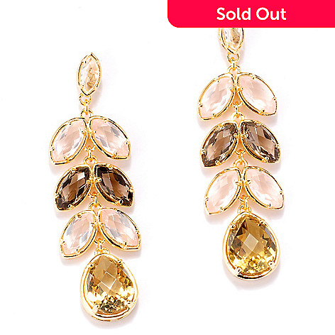 127-797 - NYC II 9.02ctw Champagne Quartz & Multi Gemstone Drop Earrings