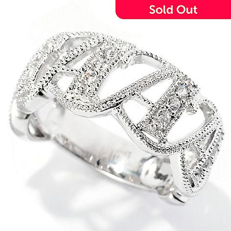 127-798 - Brilliante® Platinum Embraced™ Polished Milgrain Simulated Diamond Initial Ring