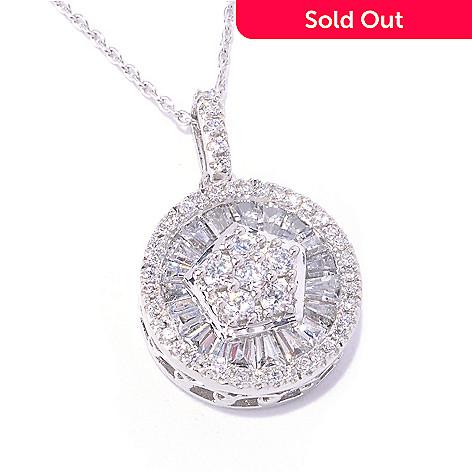 127-801 - Brilliante® Platinum Embraced™ Tapered Baguette Pendant w/ Chain