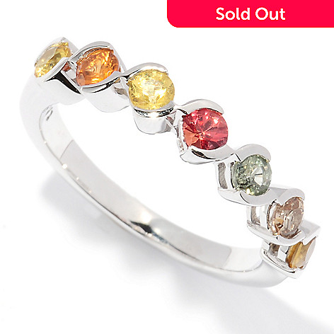 127-802 - Gem Treasures® Sterling Silver Multi Colored Sapphire Ring