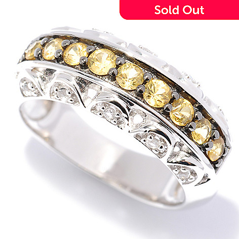 127-805 - Gem Treasures® Sterling Silver Colored Sapphire & White Topaz Band Ring