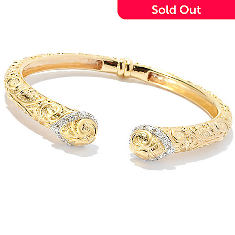 127-806 - Jaipur Bazaar Gold Embraced™ Diamond Raised Filigree Hinged Bangle Bracelet