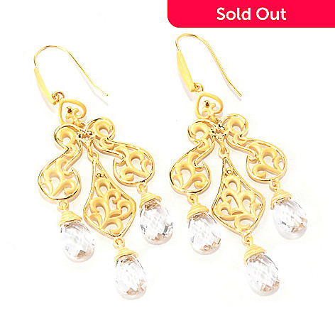 127-807 - Jaipur Bazaar Gold Embraced™ 16.80ctw White Quartz Chandelier Earrings