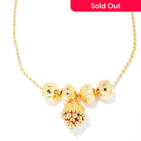 127-808 - Jaipur Bazaar Gold Embraced™ 18'' Ornate Bead & Charm Necklace