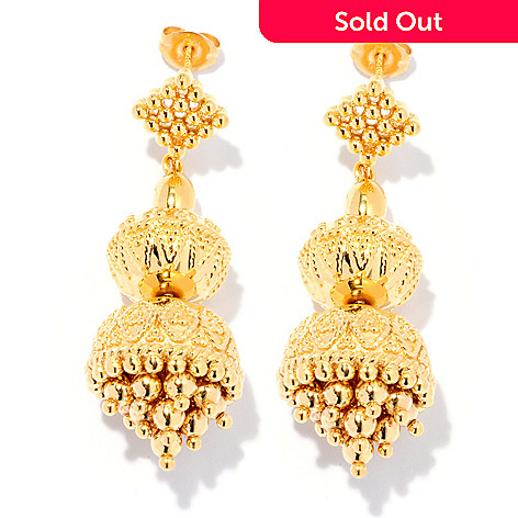 127-809 - Jaipur Bazaar Gold Embraced™ 1.75'' Ornate Bead Drop Earrings