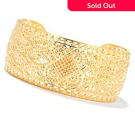 127-811 - Jaipur Jewelry Bazaar™ Gold Embraced™ 7.5'' Ornate Cuff Bracelet