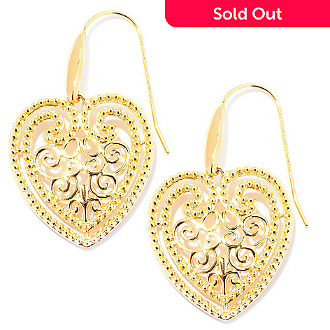 127-812 - Jaipur Bazaar Gold Embraced™ Ornate Heart Drop Earrings