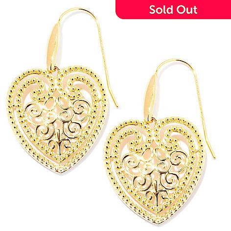 127-812 - Jaipur Bazaar Gold Embraced™ Ornate Heart Drop Earrings