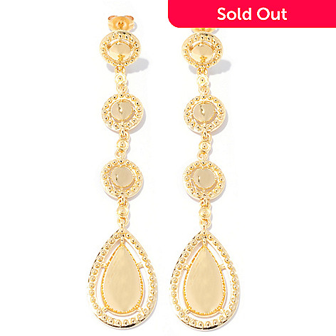 127-813 - Jaipur Bazaar Gold Embraced™ 2.75'' Elongated Four-Drop Earrings