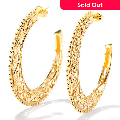 127-819 - Jaipur Jewelry Bazaar™ 18K Gold Embraced™ 1.75'' Ornate Textured Hoop Earrings