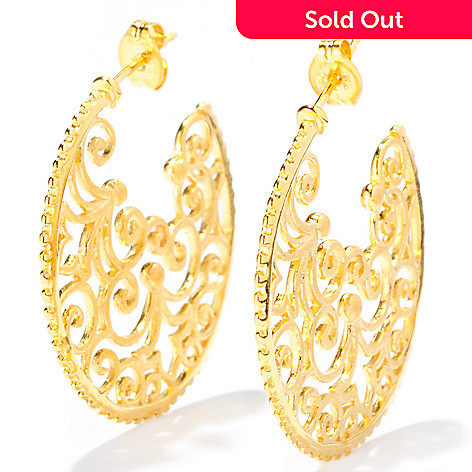 127-820 - Jaipur Jewelry Bazaar™ Gold Embraced™ Embellished Inner Design Hoop Earrings