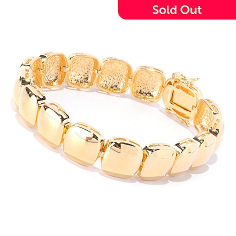 127-821 - Milano Luxe Gold Embraced™ 7.5'' Cube Link Bracelet