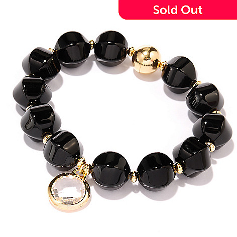 127-824 - Milano Luxe Gold Embraced™ 8.25'' Onyx & Quartz Bracelet w/ Magnetic Clasp