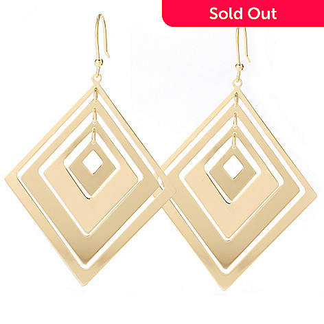 127-825 - Milano Luxe Gold Embraced™ Four-Tier Diamond Shape Drop Earrings
