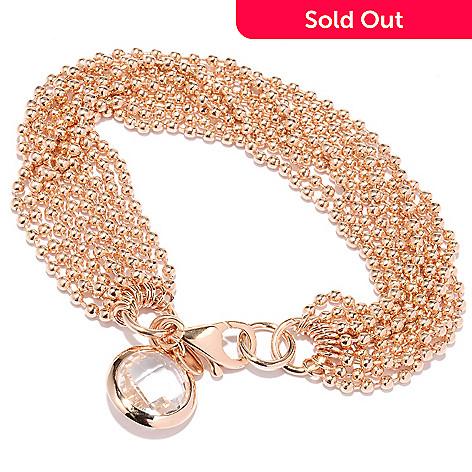 127-828 - Milano Luxe Gold Embraced™ 8'' Quartz Charm Multi Strand Bracelet