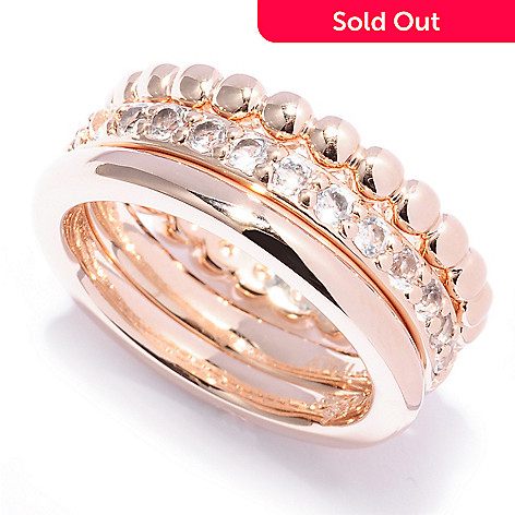 127-832 - Milano Luxe Gold Embraced™ Set of Three Multi Design Band Rings