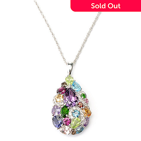127-833 - Gem Insider Sterling Silver 5.87ctw Multi Gemstone Teardrop Pendant w/ Chain