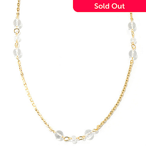 127-834 - Milano Luxe Gold Embraced™ 100'' Rock Crystal Rolo Link Station Necklace