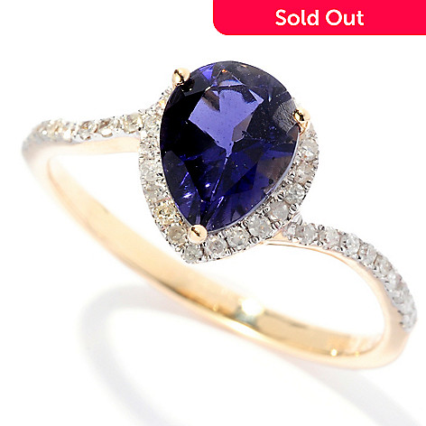 127-836 - Gem Treasures® 14K Gold 1.04ctw Pear Shaped Iolite & Diamond Ring
