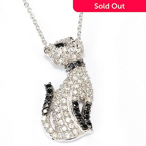 127-840 - NYC II 3.67ctw White Zircon & Black Spinel Cat Pendant w/ 18'' Chain