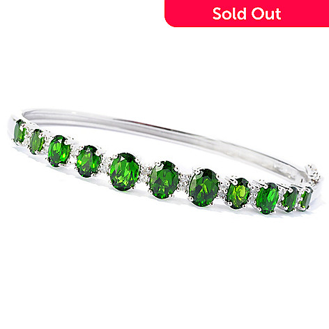 127-842 - NYC II® 6.05ctw Chrome Diopside & White Zircon Hinged Bangle Bracelet