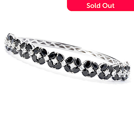 127-846 - NYC II 10.40ctw Black Spinel & White Zircon Bangle Bracelet