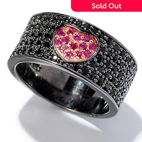 127-848 - NYC II® Pave Set Black Spinel & Pink Sapphire Heart Band Ring