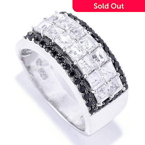 127-850 - NYC II 2.51ctw Square Cut White Zircon & Black Spinel Ring