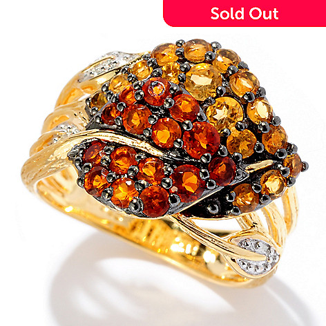 127-853 - NYC II 1.20ctw Madeira Citrine & Golden Citrine Double Leaf Ring