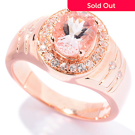 127-854 - NYC II® 1.33ctw Morganite & White Zircon Halo Ring