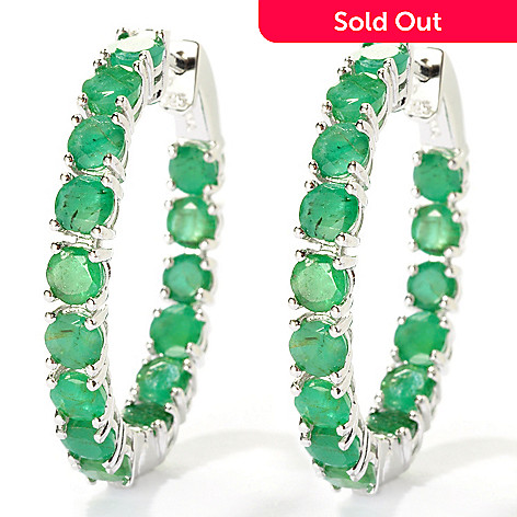 127-861 - NYC II 1.25'' 7.88ctw Sakota Emerald Inside-Out Hoop Earrings