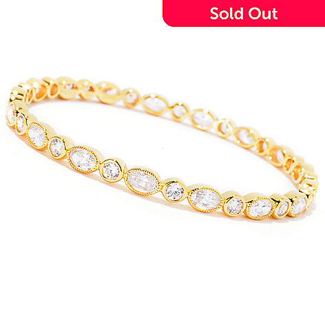 127-871 - Sonia Bitton Oval & Round Cut Simulated Diamond Milgrain Slip-on Bangle Bracelet