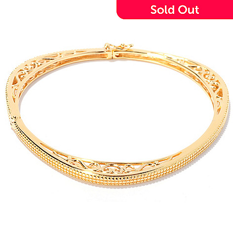 127-875 - Jaipur Bazaar Gold Embraced™ 7.25'' Beaded Triangular Bangle Bracelet