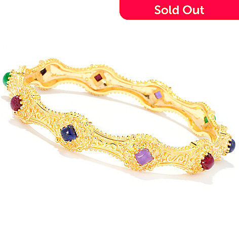 127-876 - Jaipur Bazaar Gold Embraced™ 8'' Dyed Multi Gem Station Slip-on Bangle Bracelet