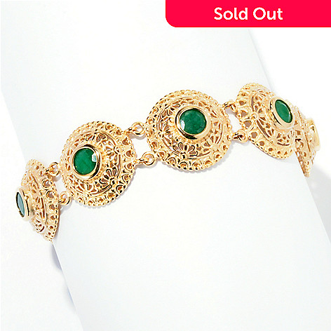 127-877 - Jaipur Bazaar Gold Embraced™ 7.25'' Dyed Emerald Ornate Circle Toggle Bracelet