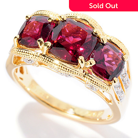127-883 - NYC II 2.97ctw Brazilian Garnet & White Zircon Ring