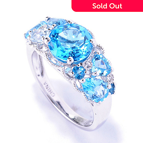 127-884 - NYC II 3.18ctw Multi Blue Topaz Ring