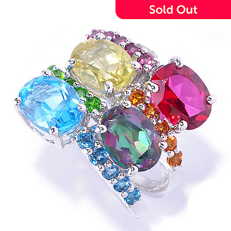 127-886 - NYC II™ 5.04ctw Multi Gemstone Four-Row Scatter Ring