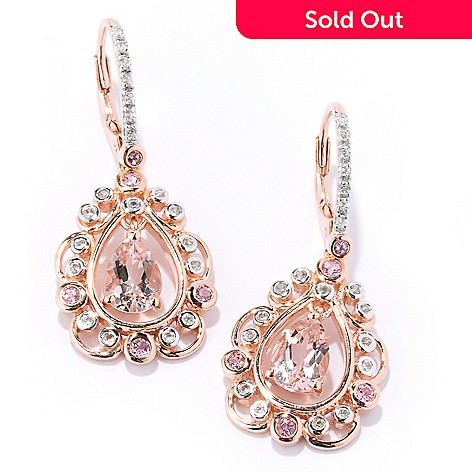 127-887 - NYC II® 2.16ctw Morganite, White Zircon & Pink Tourmaline Teardrop Earrings