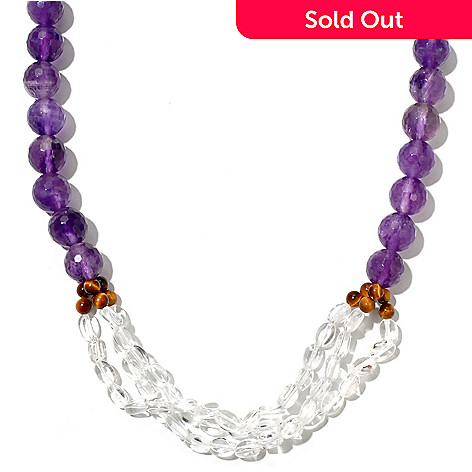 127-889 - Gem Treasures® Sterling Silver 18'' Amethyst, Tiger Eye & Crystal Necklace w/ 2'' Extender