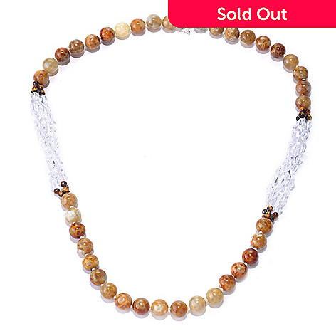 127-892 - Gem Treasures Sterling Silver 24'' Fire Agate, Tiger Eye, & Crystal Necklace