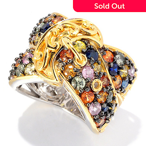 127-895 - Gems en Vogue 3.12ctw Multi Color Sapphire Buckle Band Ring
