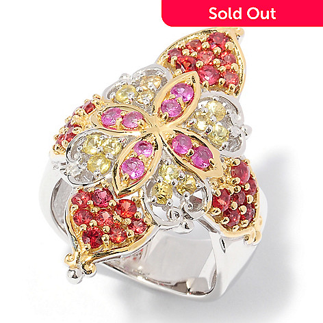 127-896 - Gems en Vogue 5.40ctw Pink, Orange and Yellow Sapphire Ring