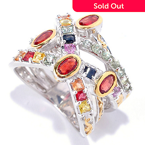 127-897 - Gems en Vogue 2.36ctw Multi Color Sapphire Five-Row Ring