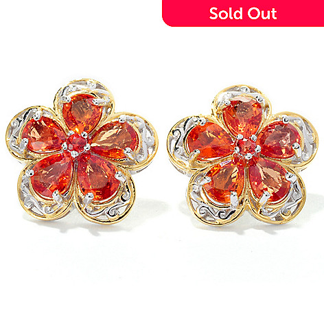 127-899 - Gems en Vogue Sapphire and Gemstone Flower Stud Earrings