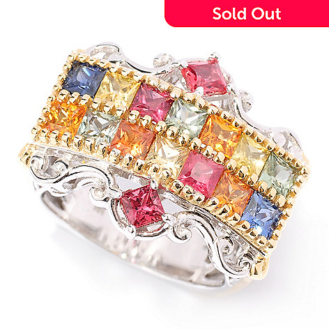 127-901 - Gems en Vogue 2.72ctw Multi Color Princess Cut Sapphire Ring